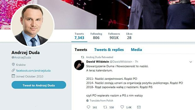 Twitter prezydenta Andrzeja Dudy