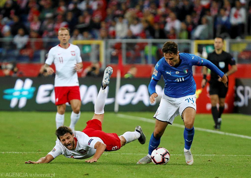 Bartosz Bereszyński i Federico Chiesa podczas meczu Polska - Włochy (Liga Narodów). Chorzów, Stadion Śląski, 14 października 2018