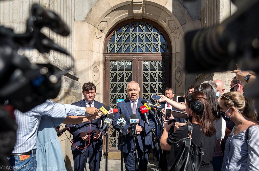 Jacek Sasin, wicepremier, minister aktywów państwowych podczas rozmów w sprawie przyszłości górnictwa na Śląsku