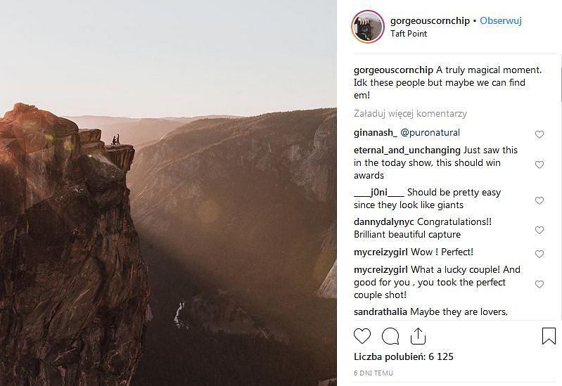 Zaręczyny na szczycie góry przypadkowo uchwycone przez fotografa z USA