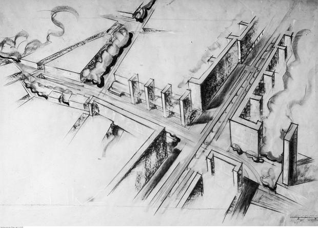 Szkic projektu skrzyżowania ul. Chłodnej z Al. Niepodległości w Warszawie z 1938 r.