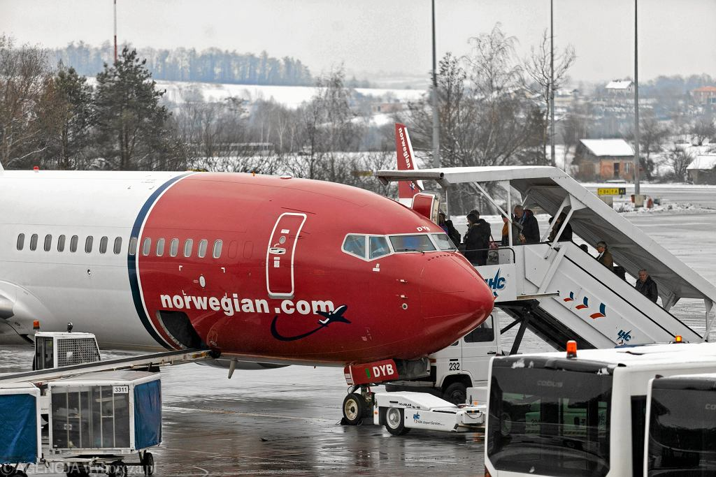 Samolot Norwegian Air na krakowskim lotnisku