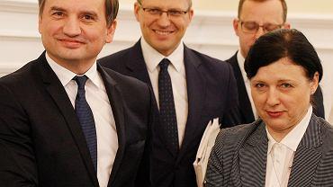 Zbigniew Ziobro, minister sprawiedliwości i Vera Jourova, wiceszefowa Komisji Europejskiej.