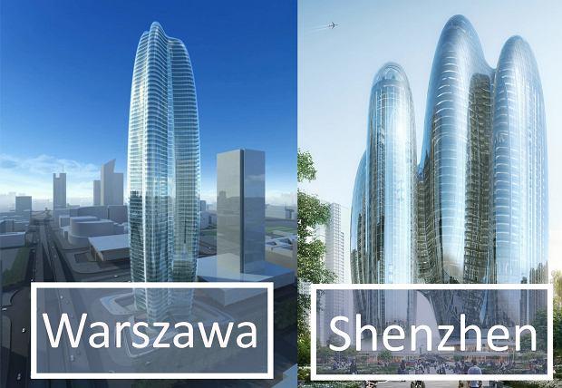 Od lewej. Wizualizacja Lilium Towers, wizualizacja wieżowca OPPO
