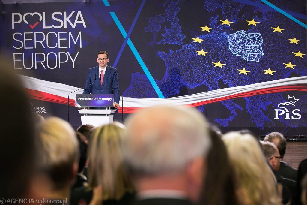 Premier Mateusz Morawiecki podczas konwencji wyborczej Prawa i Sprawiedliwości