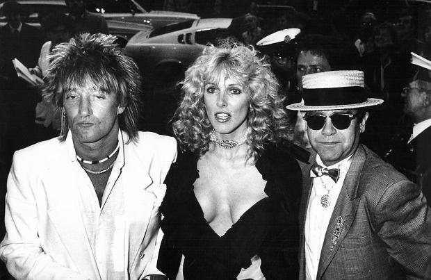 Rod Stewart z żoną Alana Stewart i Elton John