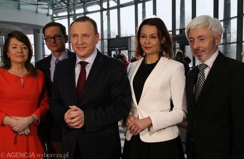 Danuta Holecka, Przemysław Babiarz , nowy prezes TVP Jacek Kurski, Anna Popek oraz reżyser Maciej Stanecki, członek zarządu TVP