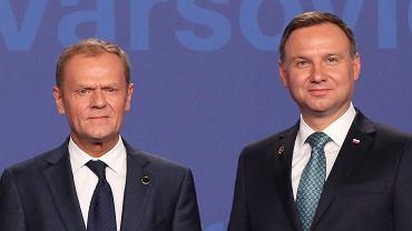 Andrzej Duda i Donald Tusk podczas pierwszego dnia szczytu NATO w Warszawie