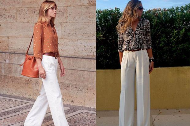 Białe spodnie i wzorzysta bluzka, fot. sezane.com, prettydesigns.com, pinterest.com
