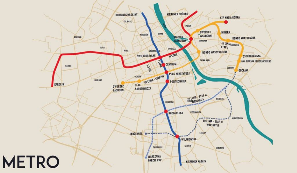Planowana trasa III linii metra