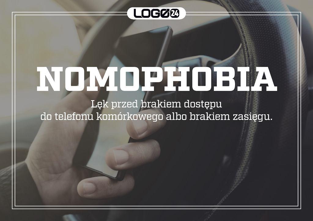 Nomophobia - lęk przed brakiem dostępu do telefonu komórkowego albo brakiem zasięgu.