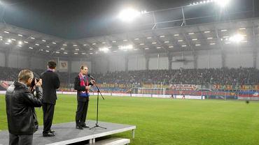 Prezydent Zygmunt Frankiewicz na stadionie Piasta Gliwice