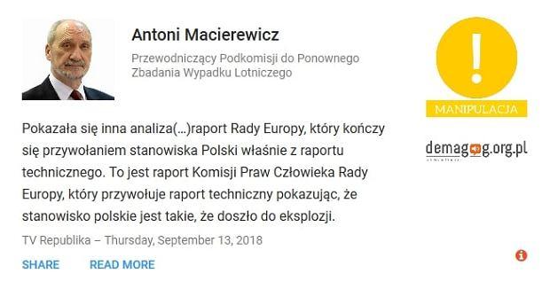 Antoni Macierewicz - wypowiedź zweryfikowana przez serwis Demagog.org.pl