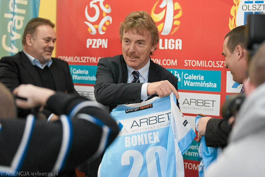 Zbigniew Boniek, prezes PZPN podczas wizyty w Stomilu Olsztyn (2014 r.)