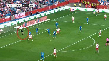 Strzał Karola Świderskiego w meczu z Islandią na 2:2