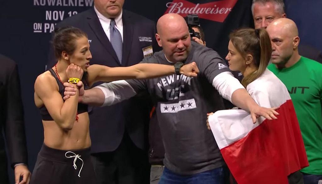 Joanna Jędrzejczyk i Karolina Kowalkiewicz podczas ważenia przed walką na gali UFC 205