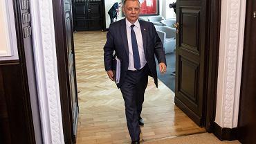Minister finansów Marian Banaś podczas pierwszego posiedzenie rządu po rekonstrukcji, Warszawa 06.06.2019.