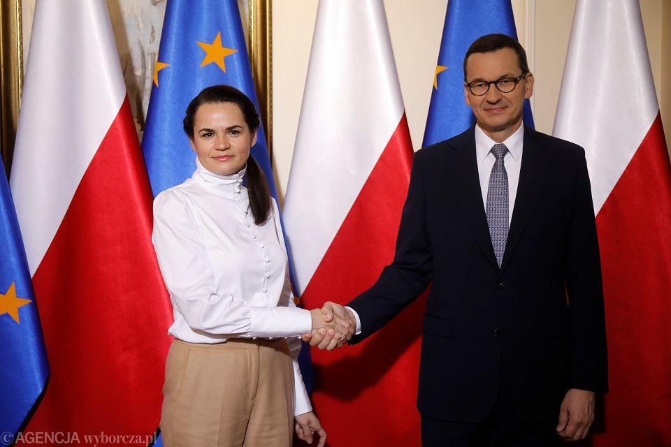 Spotkanie premiera Mateusza Morawieckiego ze Swiatlaną Cichanouską w KPRM