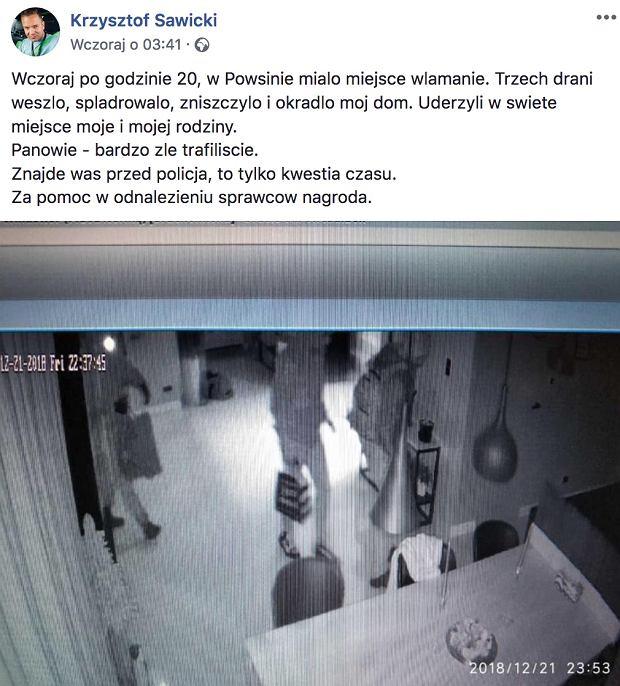 Krzysztof Sawicki poinformował o kradzieży w swoim domu