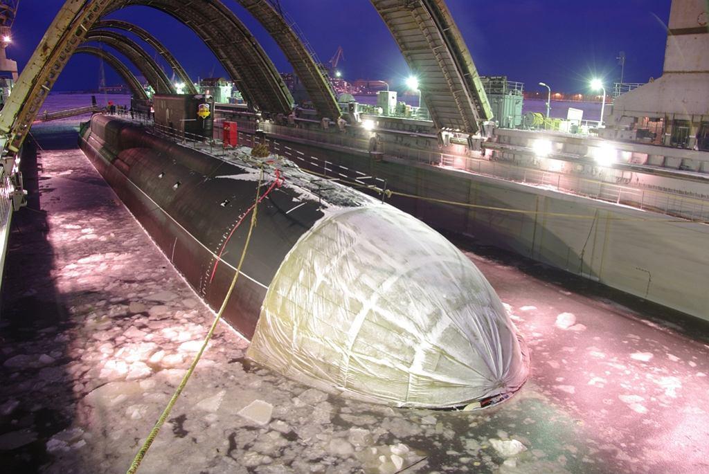 Kniaź Władimir podczas wodowania w stoczni w Siewierodwińsku