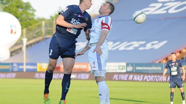 Maciej Dąbrowski podczas meczu Pogoń Szczecin - Górnik Zabrze 2:2 wiosną 2014 r.