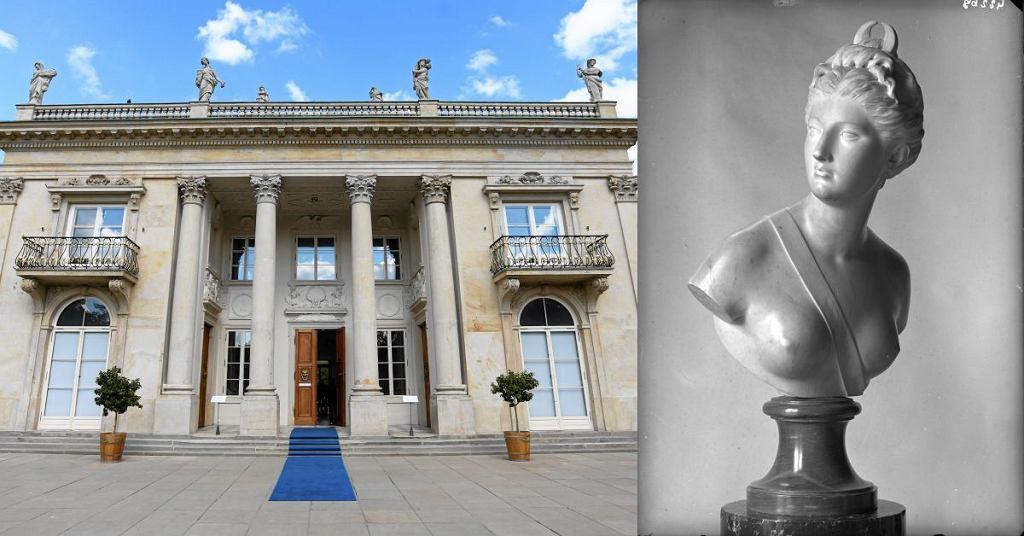 Łazienki Królewskie, Pałac Na Wyspie / XVIII wieczne popiersie bogini Diany