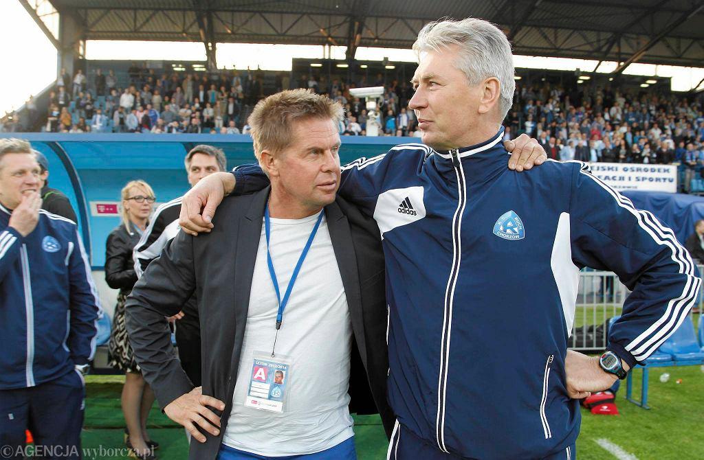 Mariusz Klimek i Jan Kocian po zdobyciu przez Ruch 3. miejsca w lidze (rok 2014)