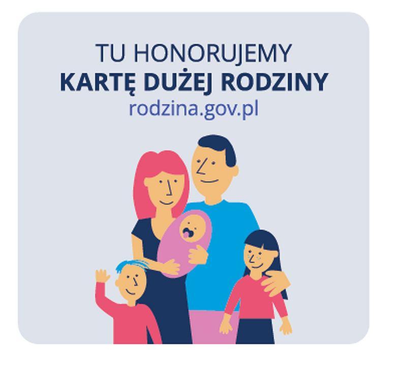 Karta Dużej Rodziny. Jeśli w danym punkcie zobaczysz ten znak, masz pewność, że honoruje on Kartę Dużej Rodziny