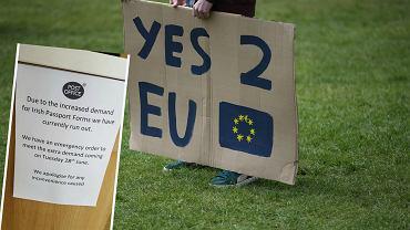 Zwolennik pozostania Wielkiej Brytanii w UE i ogłoszenie na poczcie w Belfaście
