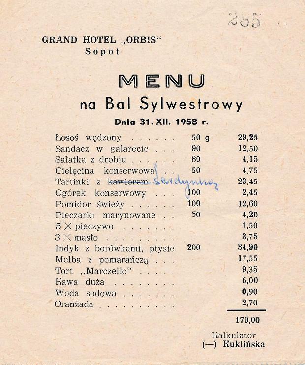 Menu ze słynnego Granda, czyli Grand Hotelu w Sopocie