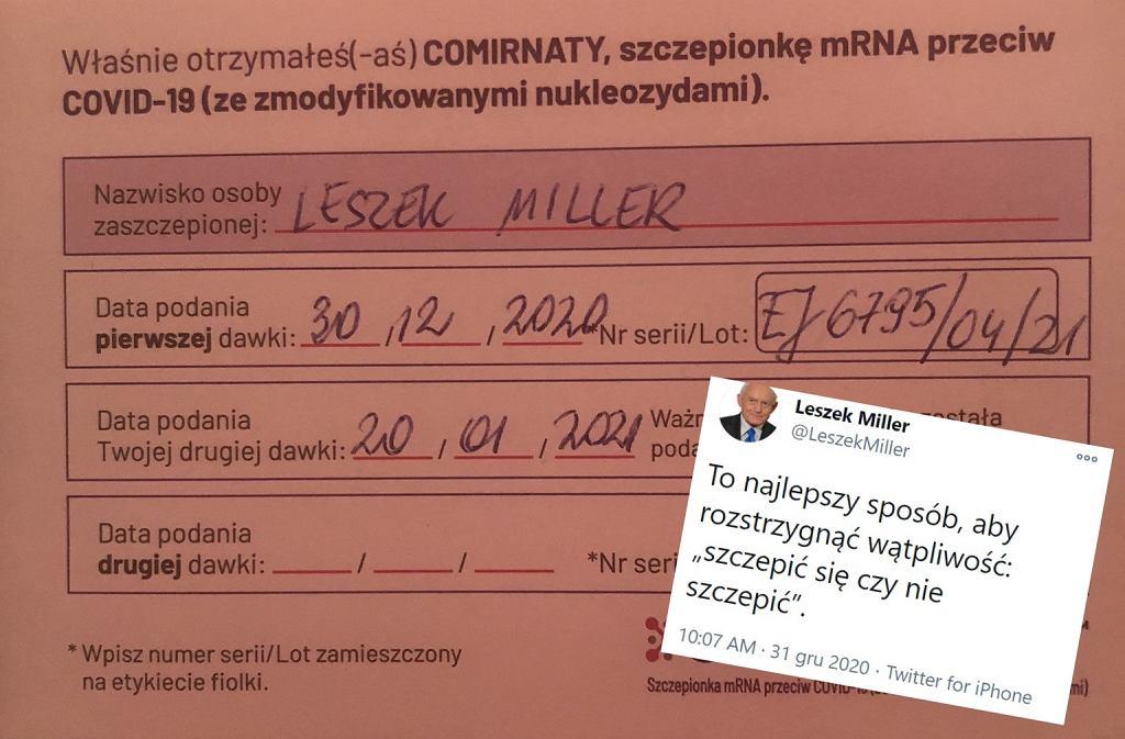 Leszek Miller pochwalił się szczepieniem na COVID-19