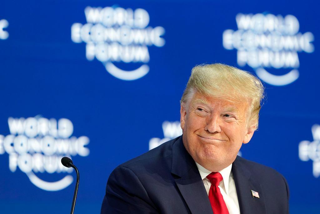 Prezydent USA Donald Trump podczas szczytu w Davos, Szwajcaria 21 stycznia 2020