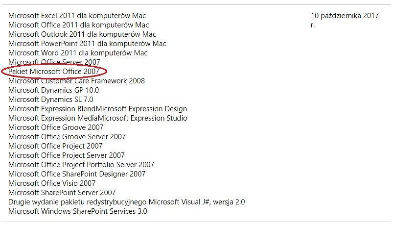 Microsoft kończy wsparcie dla Office 2007