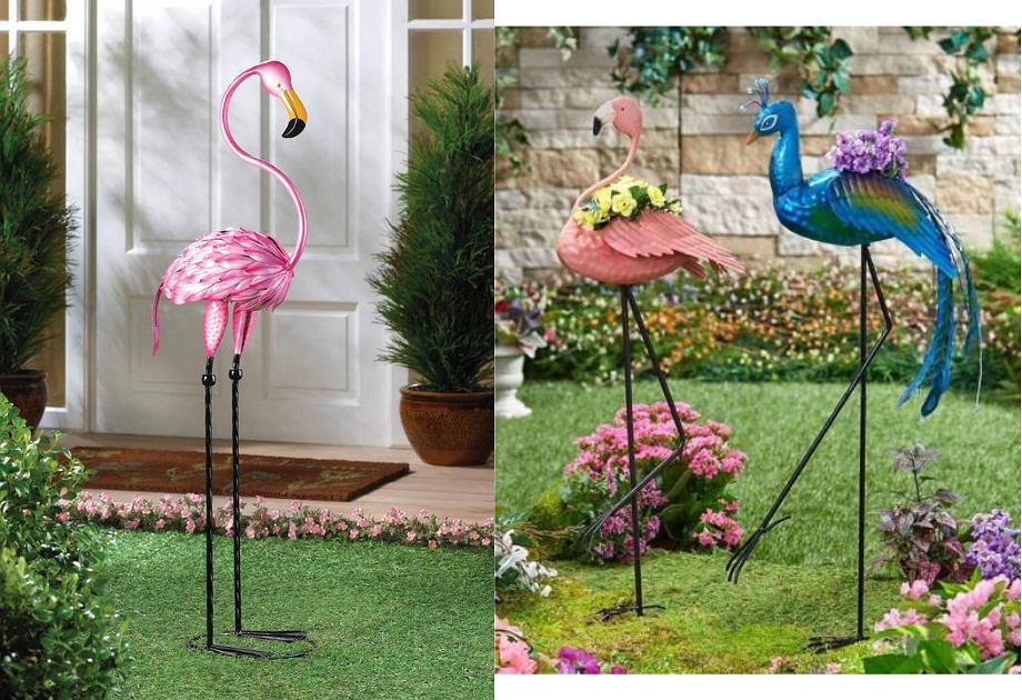 Figurki ptaków w ogrodzie