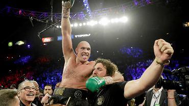 Tyson Fury tuż po pojedynku z Deontay'em Wilderem
