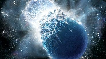 Zderzenie gwiazd neutornowych (wizualizacja)