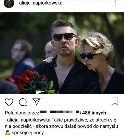 Alicja Napiórkowska i Łukasz Jemioł na pogrzebie Kory
