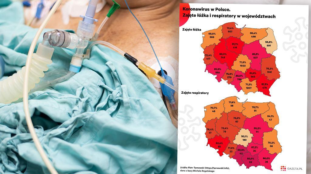 Koronawirus w Polsce. Zajęte łóżka i respiratory.