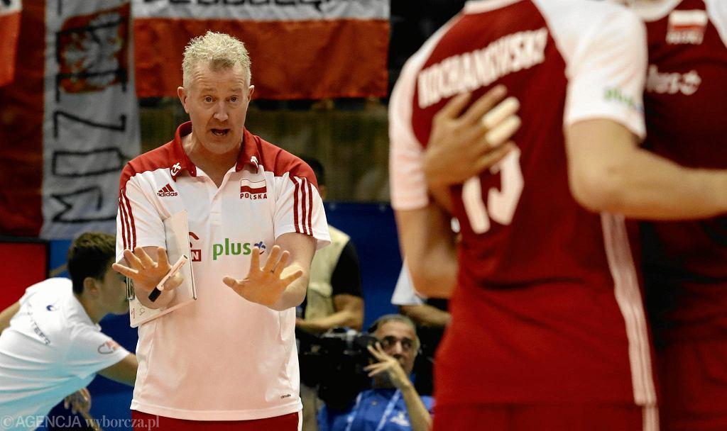 Trener Vital Heynen podczas meczu Polska - Iran. Mistrzostwa Świata w Piłce Siatkowej Mężczyzn 2018, Bułgaria, Warna, 17 września 2018