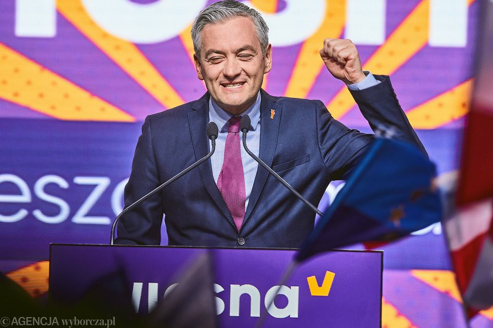 Robert Biedroń podczas konwencji swojej partii Wiosna. Lódź, 19 maja 2019 r.