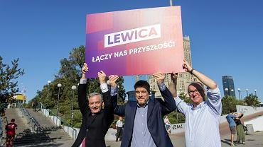 Robert Biedroń, Adam Zandberg i Włodzimierz Czarzasty ogłaszają  hasło wyborcze Lewicy, 23 sierpnia 2019.