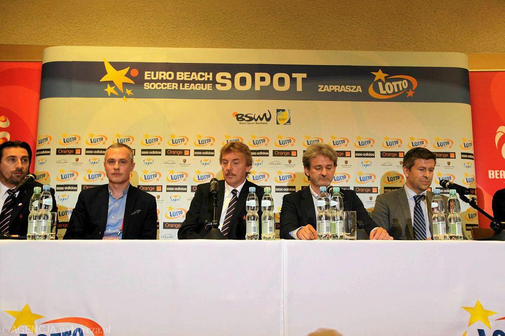 Konferencja dotycząca turnieju Europejskiej Ligi Beach Soccera Sopot 2014