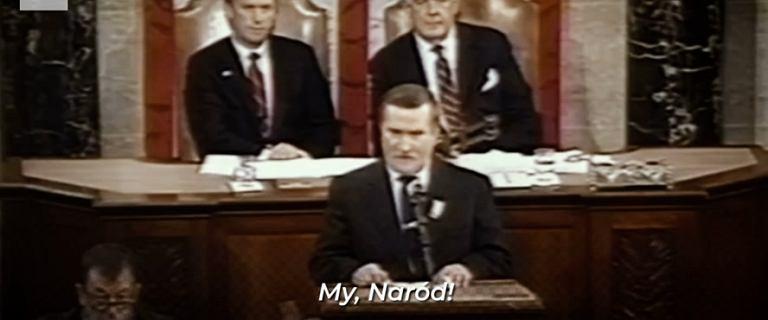 ''My, Naród!''. W 1989 r. Wałęsa wygłosił historyczne przemówienie w Kongresie