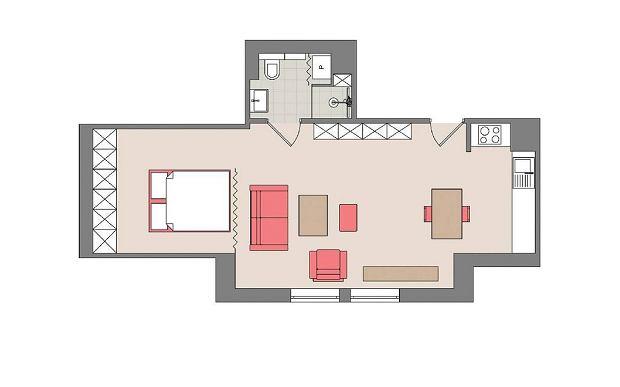 Plan mieszkania: 48 m kw.