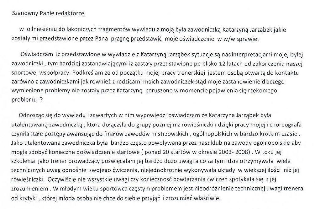 Oświadczenie p. Hanny Narloch