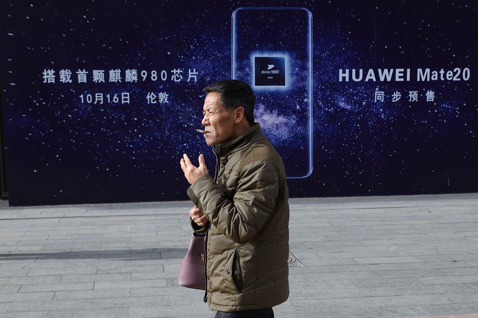 Reklama Huawei. Pekin, Chiny, 7 stycznia 2019