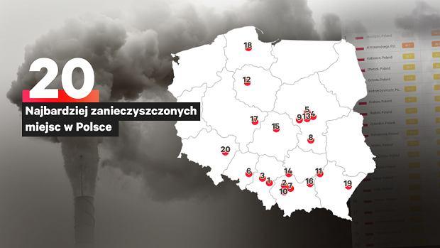 Miasta z najbardziej zanieczyszczonym powietrzem w Polsce.