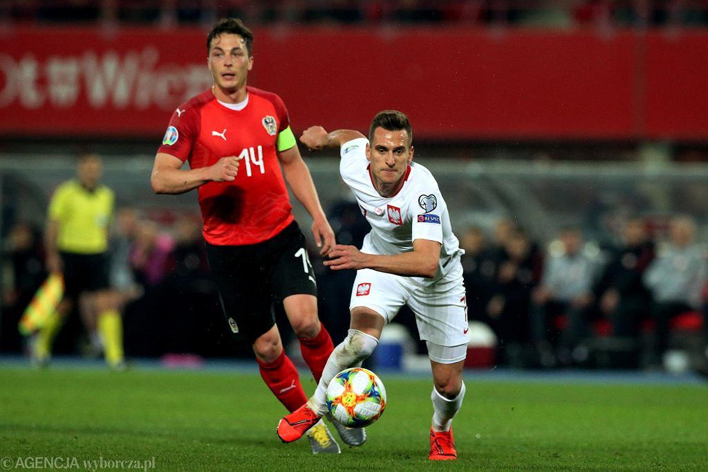 Arkadiusz Milik podczas meczu eliminacji Euro 2020 Austria - Polska