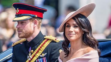 Meghan Markle (księżna Meghan) i książę Harry na Trooping the Colour 2018