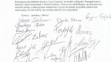 list poparcia Górnika Zabrze dla górników